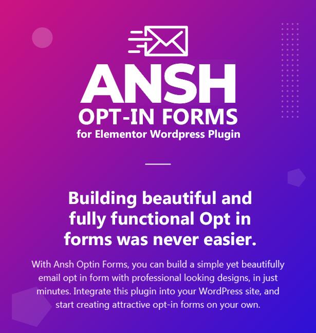Ansh Optin Forms for Elementor WordPress Plugin
